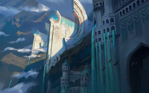 Картинка горы, здания, водопад, сооружение, Lighthouse