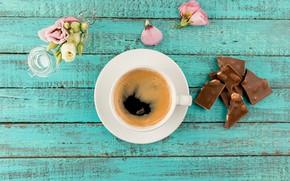 Картинка цветы, шоколад, Кофе