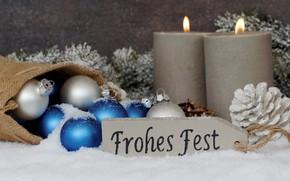 Картинка праздник, новый год, ель, свечи, искусственный снег
