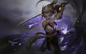 Картинка аниме, воин, фэнтези, арт, Dao Le Trong, Murasaki