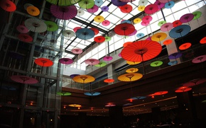 Картинка colorful, photography, color, interior, situation, entrance, lift, lobby, Umbrellas, Japanese umbrellas