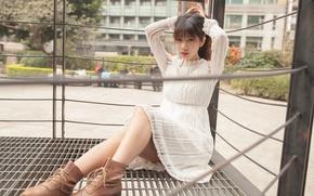 Картинка лето, девушка, лицо, платье, ножки