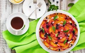 Картинка чай, сладость, выпечка, фруктовый пирог