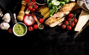 Картинка хлеб, помидоры, соус, food, маслины, специи, базилик, italian