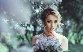 Картинка девушка, нежность, весна, блондинка, сирень