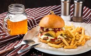 Обои бургер, пиво, картофель фри