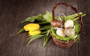 Картинка Пасха, тюльпаны, корзинка, wood, tulips, spring, Easter, eggs, decoration, Happy