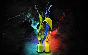 Обои синий, Абстракция, бирюза, красиво, жёлтый, яркие цвета, краски, красный