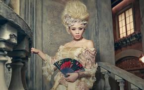 Картинка лицо, стиль, фон, модель, волосы, платье