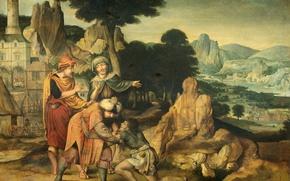 Картинка дерево, масло, картина, мифология, Притча о Блудном Сыне, Корнелис Массейс