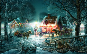 Картинка зима, снег, праздник, дома, вечер, лошади, повозка, сани, гирлянда, Terry Redlin