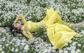 Картинка лето, девушка, цветы