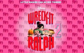 Картинка фон, мультфильм, персонажи, Walt Disney, Ральф, Vanellope, Ralph, Wreck-It Ralph 2