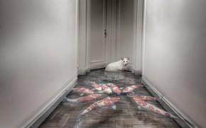 Картинка кошка, дом, рыбы