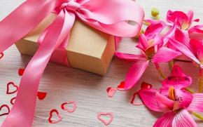 Обои цветы, подарок, лента, сердечки, love, pink, flowers, romantic, hearts, sweet, gift, valentine`s day