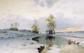 Обои река, Начало весны, Иван ЕНДОГУРОВ, снег, масло, Холст