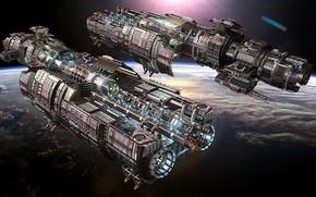 Картинка космос, планета, корабли, Fractured Space, USR Displacer