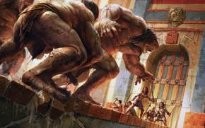 Обои walls, Giants, door, fantasy art, digital art, weapons, soldiers, artwork, situation, swords, fantasy, armor, castle, ...