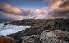 Картинка море, скалы, побережье, маяк, Ирландия, Ireland, Donegal, Balloor, Fanad Lighthouse