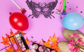 Картинка листья, цветы, стиль, обувь, макияж, очки, тени, Маска, карнавал, style, flowers, leaves, shadows, Mask, makeup, …