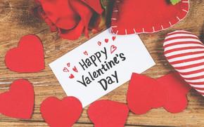 Картинка Сердечки, Розы, Праздник, Открытка, День Святого Валентина