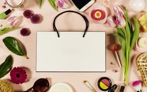 Картинка цветы, фон, Стиль, телефон, сумка, пирожные, Косметика