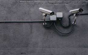 Картинка город, стена, улица, кабели, минимализм, камера, камеры, Canada, Toronto, видеонаблюдение, камеры видеонаблюдения, камера видеонаблюдения