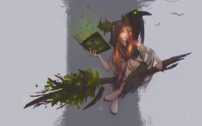 Картинка фентези, магия, арт, книга, ведьма, метла, помело, Concept art - Witch, Elena Darvina