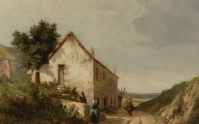 Картинка пейзаж, картина, Камиль Писсарро, Дом у Дороги с Фигурами в Кампани