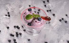 Картинка черника, мороженое, мята, десерт, вкусно