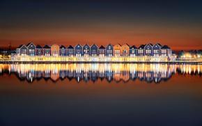 Картинка ночь, огни, отражение, дома, Нидерланды, Хаутен