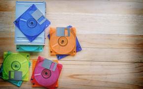 Картинка Музыка, диски, деревянный фон