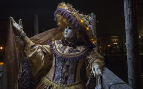 Картинка ночь, шляпа, маска, Венеция, карнавал