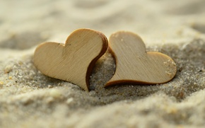 Картинка песок, макро, сердечки, фигурки