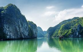 Обои Вьетнам, Бухта, Природа, Море, Halong Bay, Залив, Скала