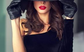 Картинка девушка, модель, помада, губы, перчатки, шляпка