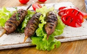 Картинка перец, кебаб, овощи, помидор, мясо, салат, листья