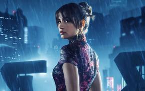 Обои постер, Бегущий по лезвию 2049, Blade Runner 2049, красотка, город, прическа, огни, брюнетка, дождь, фантастика, ...