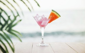 Обои песок, море, пляж, лето, отдых, арбуз, коктейль, summer, beach, каникулы, fresh, sea, sand, drink, cocktail, ...