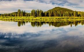 Картинка горы, озеро, остров, панорама, Гранд-Титон, Grand Teton National Park, Oxbow