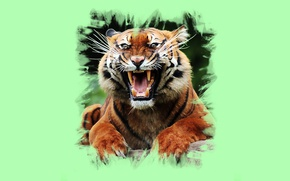 Картинка тигр, арт, пасть, клыки