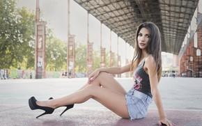 Картинка лето, взгляд, лицо, стиль, модель, волосы, красавица, каблуки, ножки, Daniela