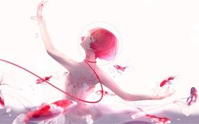 Картинка девушка, рыбы, улыбка, аниме, арт, пузырь, под водой, нить, lluluchwan