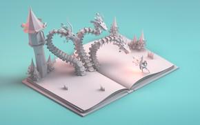 Обои Paper story, дракон, тетрадь, арт, фантазия, mohamed chahin, книга