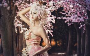 Картинка девушка, деревья, цветы, стиль, макияж, сакура, платье, азиатка, аллея