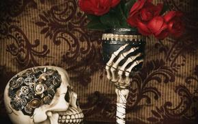 Картинка цветы, стиль, бокал, череп, механизм, рука, розы, кости, шестерёнки