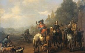 Картинка дерево, масло, картина, Иоганн Лингельбах, Возвращение Яхты