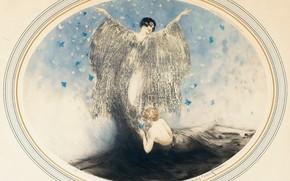 Картинка 1926, арт-деко, офорт и акватинта, Луи Икар, Маленькие бабочки