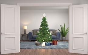 Картинка комната, графика, елка, дверь, Новый год