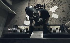 Обои противогаз, человек, пианино, музыка